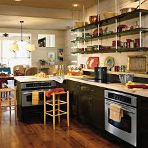 How to organize a kitchen without cabinets 5 tips home for Kitchen cabinets no doors