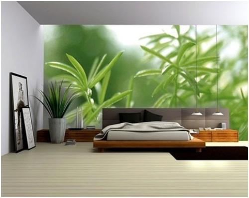 Bedroom Without Windows with Wallpaper