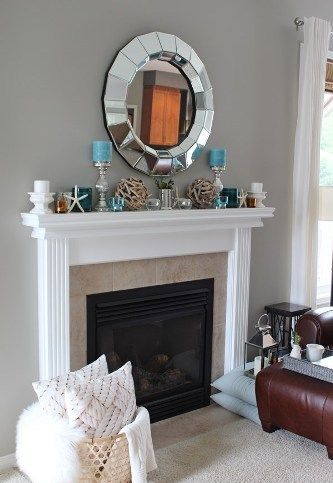 Fireplace Mantel for Summer with Mirror