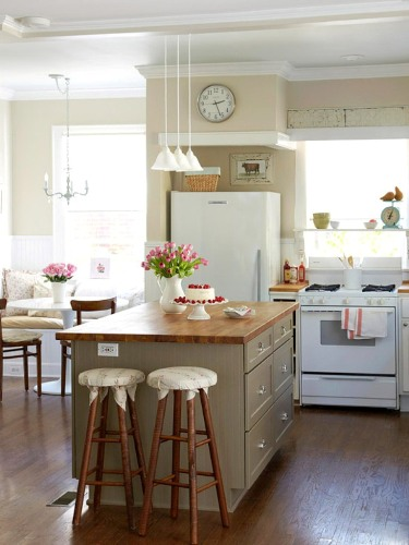 French Country Kitchen with Sage Green Island