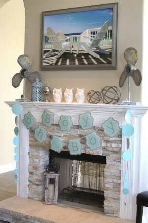 Fun Fireplace Mantel for a Baby Shower