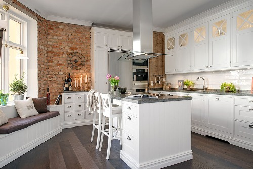 Kitchen Bench with Brick Wall