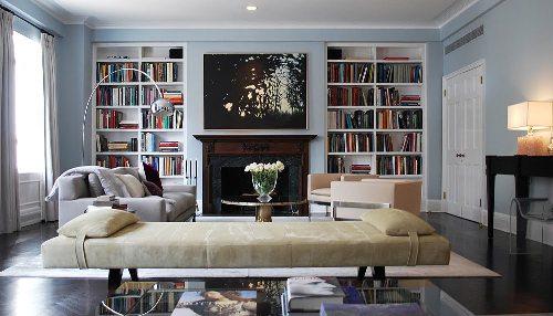 Modern Bookshelves Around a Fireplace