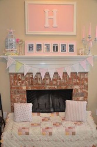 Pink Fireplace Mantel for a Baby Shower