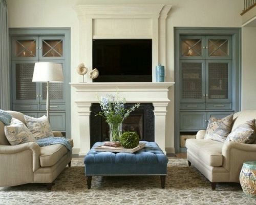 Simple Fireplace Mantel with a TV