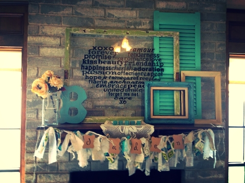 Stylish Fireplace Mantel for a Baby Shower