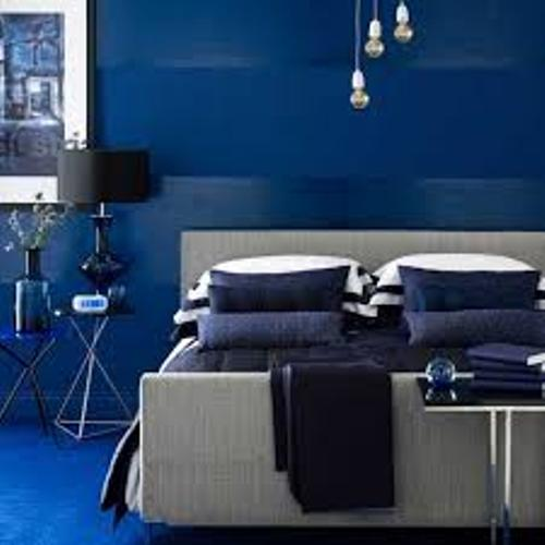 Bedroom with Blue Wall Colors
