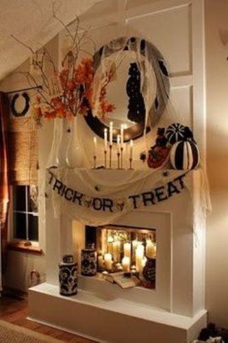 Black Fireplace Mantel for Halloween