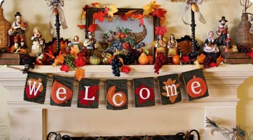 Decorative Fireplace Mantel for Thanksgiving