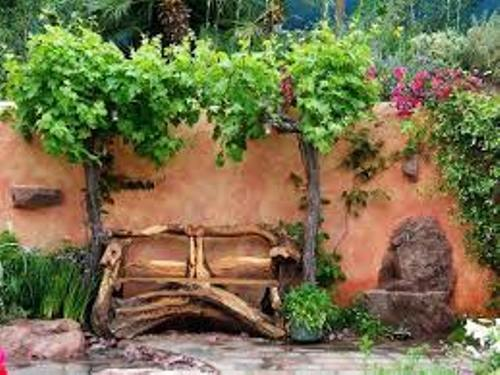 Decorative Garden with Wooden Logs