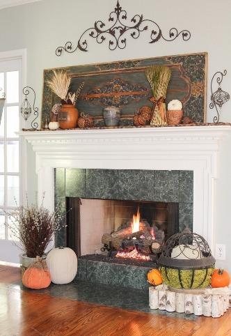 Elegant Fireplace Mantel for Thanksgiving