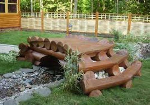 Garden with Wooden Logs
