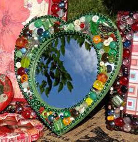Heart Shaped Mirror Frame with Beads