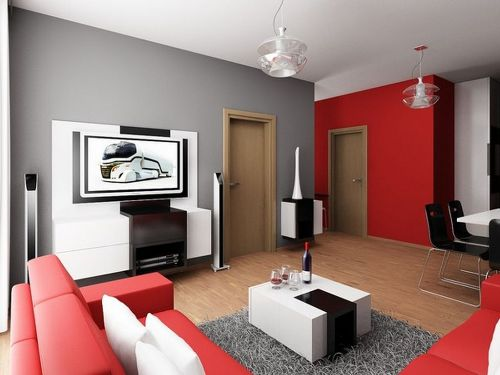 Living Room Apartment in Red