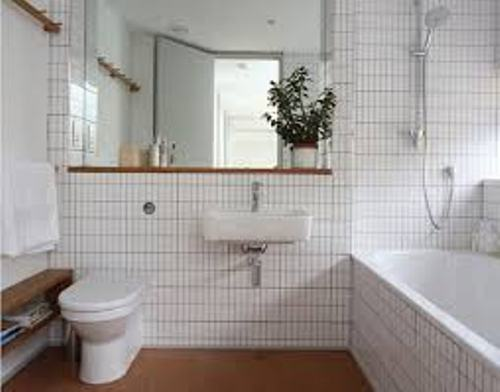 Long Wall in White Bathroom