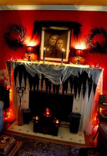 Spooky Fireplace Mantel for Halloween