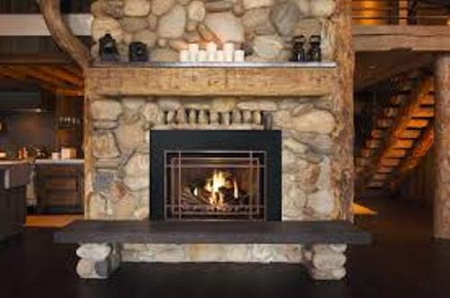 Stone Fireplace Mantel with Wooden Bench
