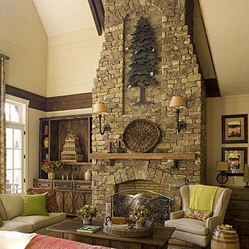 Stone Home Decor : How to decorate a rustic fireplace mantel guides for