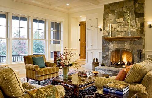 Stylish Living Room Around Fireplace