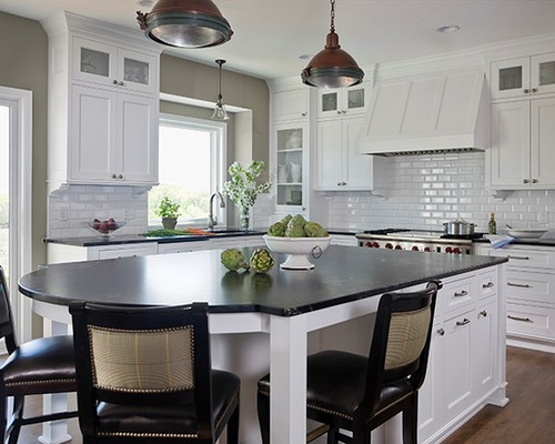 White Kitchen Cabinet with Black Top
