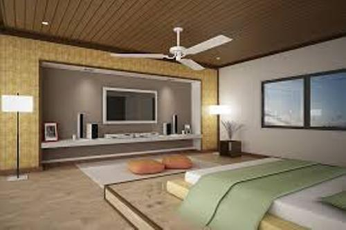 Bedroom with a TV and Cool Colors