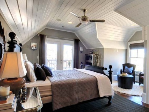 Brilliant Bedroom with Slanted Ceilings