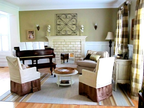 Eclectic Living Room with an Upright Piano