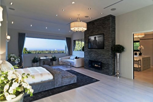 Elegant Bedroom with a TV