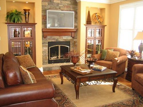 Excellent Living Room around a Fireplace