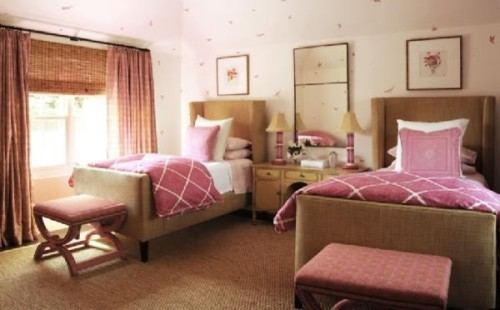 Feminine Bedroom with Two Beds