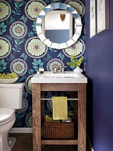 Small Bathroom Vanity with Blue Wall
