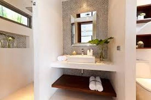 Small Bathroom with Floating Shelves