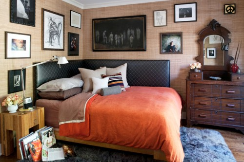 Decorative Pillows on a Corner Bed