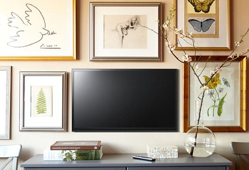 Stylish Pictures Around a Flat Screen TV