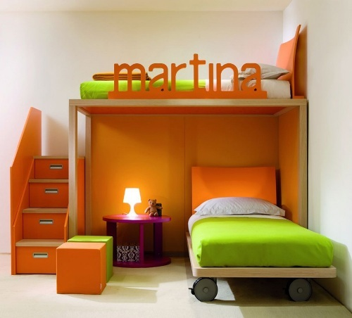 Orange Furniture in Child's Bedroom