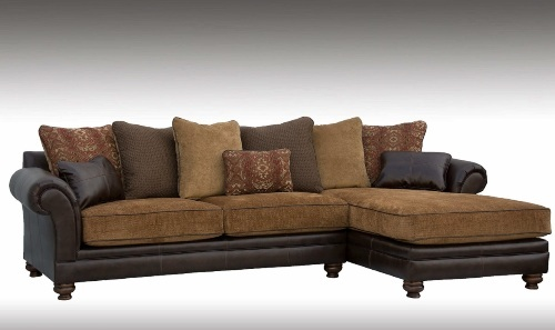 Sofa with Chaise in Brown