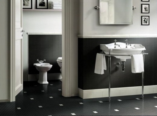 Bathroom in Black and White Image