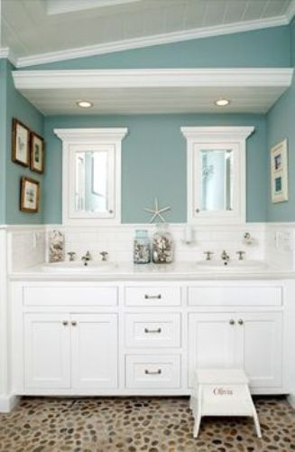 Bathroom in a Beach Theme in Sea Foam Green