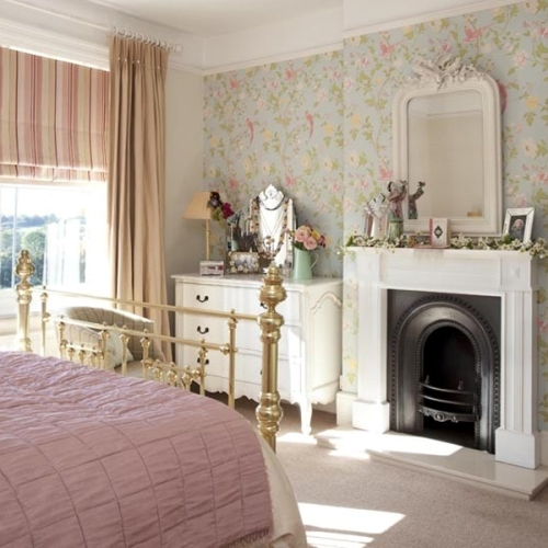 Bedroom Fireplace Mantel with Floral Wallpaper