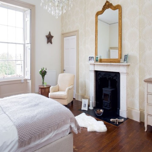 Bedroom Fireplace Mantel with Mirror