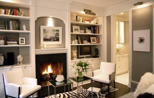 Bookshelves Around a Fireplace Decoration