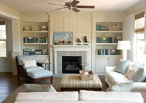 Bookshelves Around a Fireplace Design