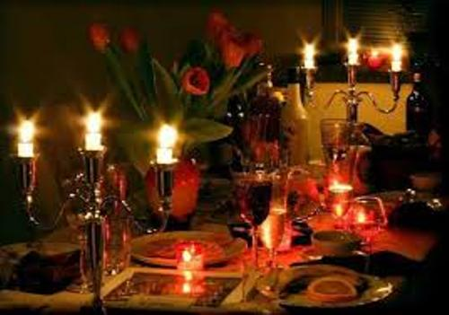 Dinner Table for Valentine's Day with Candles