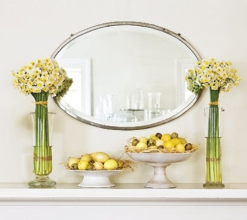 Fireplace Mantel for Easter with Oval Mirror