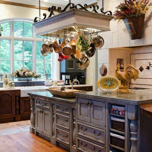 French Country Kitchen with Rustic Island