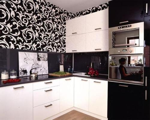 Kitchen Cabinets with Wallpaper Design