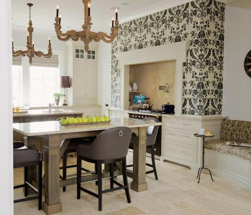Kitchen Cabinets with Wallpaper Ideas