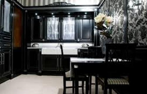Kitchen Cabinets with Wallpaper Pic