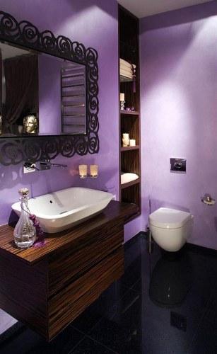 Purple Bathroom with Black Floor