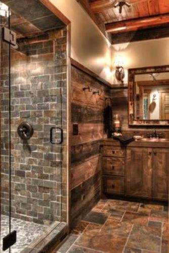 Shower Door with Rustic Cabinet